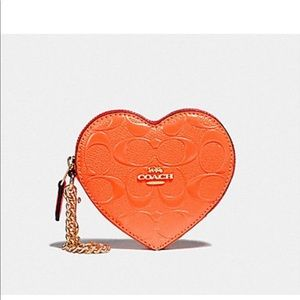 Coach Heart Zip Coin In neon orange